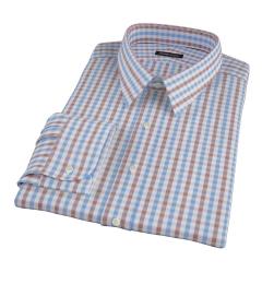 Thomas Mason Brown Multi Gingham Fitted Dress Shirt