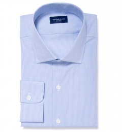 Blue Mini Grid Fitted Dress Shirt