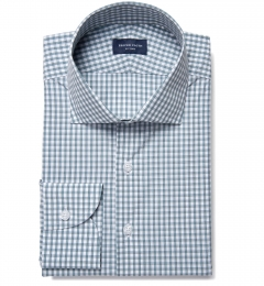 Canclini 100s Slate Blue Grid Check Fitted Shirt