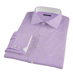 Canclini Lavender Mini Gingham Dress Shirt