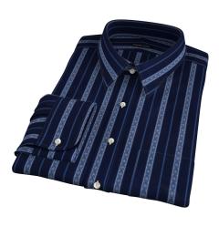 Albini Navy Folk Stripe Fitted Dress Shirt