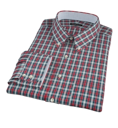Red and Blue Block Plaid Fitted Dress Shirt