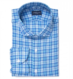 Canclini Aqua and Blue Plaid Linen Fitted Dress Shirt