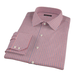 Canclini Red and Navy Multi Gingham Fitted Dress Shirt