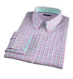 Thomas Mason Pink Spring Plaid Fitted Dress Shirt