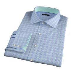Alassio Aqua End on End Check Custom Dress Shirt