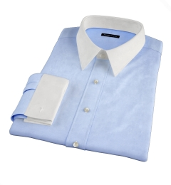 Thomas Mason Light Blue Wrinkle-Resistant Twill Fitted Dress Shirt