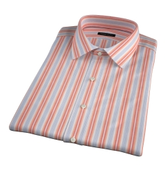 Albini Orange and Blue Summer Stripe Short Sleeve Shirt