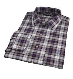 Jackson Brown and Navy Plaid Flannel Men's Dress Shirt