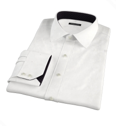 White Wrinkle-Resistant Rich Herringbone Fitted Dress Shirt