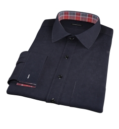 Thomas Mason Black Luxury Broadcloth Fitted Shirt