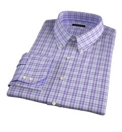 Varick Lavender Multi Check Fitted Dress Shirt