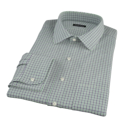 Canclini Green and Blue Mini Gingham Fitted Shirt