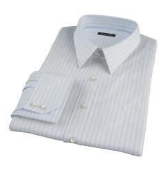 Canclini 120s Sky Blue Reverse Bengal Stripe Dress Shirt