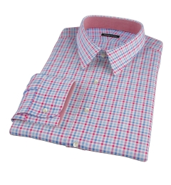 Thomas Mason Red Blue Multi Check Custom Dress Shirt