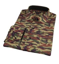 Fatigue Camouflage Print Dress Shirt