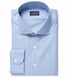 Greenwich Blue Mini Check Dress Shirt