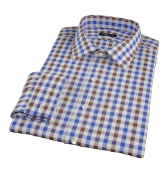 Blue and Brown Large Gingham Tailor Made Shirt