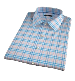 Thomas Mason Blue Spring Plaid Short Sleeve Shirt