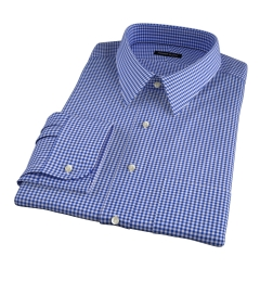 Melrose 120s Royal Blue Mini Gingham Fitted Dress Shirt