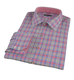 Lewis Red Plaid Flannel Men's Dress Shirt