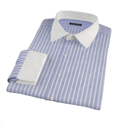 Marine Blue Cotton Linen Stripe Men's Dress Shirt