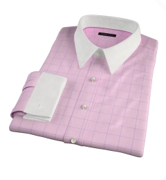 Thomas Mason Pink and Blue Prince of Wales Check Custom Made Shirt