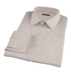 Tan Cotton Linen Gingham Men's Dress Shirt