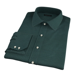 White on Green Printed Pindot Men's Dress Shirt