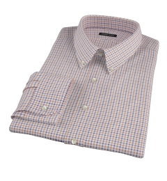 Canclini Brown Blue Tattersall Flannel Fitted Shirt