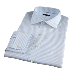 Canclini Light Blue Wide Horizontal Stripe Fitted Dress Shirt
