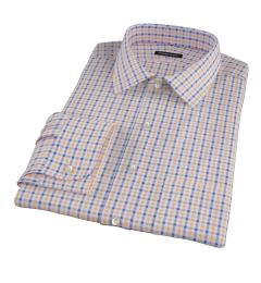 Orange and Blue Gingham Custom Dress Shirt