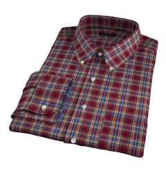 Burgundy and Amber Plaid Flannel Fitted Dress Shirt