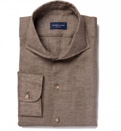 Canclini Brown Linen Fitted Shirt
