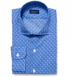 Canclini Blue Floral Print Fitted Shirt