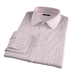 Novara Melon 120s Check Fitted Dress Shirt