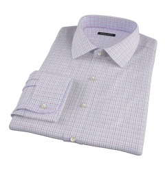 Albini Red Multi Tattersall Fitted Dress Shirt