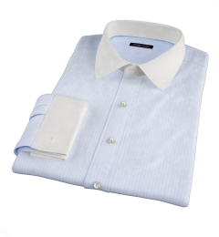Thomas Mason Light Blue Vintage Stripe Men's Dress Shirt