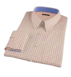 Medium Light Orange Gingham Fitted Shirt