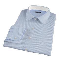 140s Blue Wrinkle-Resistant Stripe Tailor Made Shirt