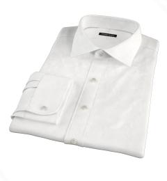 120s White Royal Herringbone Men's Dress Shirt