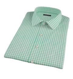 Medium Light Green Gingham Short Sleeve Shirt