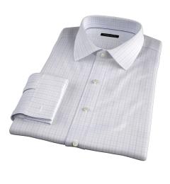 Verona Lavender 100s Border Grid Fitted Dress Shirt