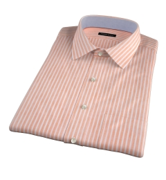 Orange Cotton Linen Stripe Short Sleeve Shirt