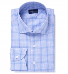 Canclini 120s Periwinkle Prince of Wales Check Custom Made Shirt