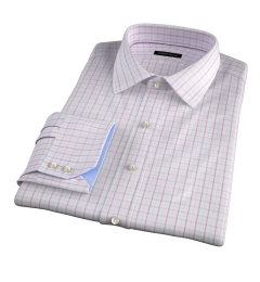 Verona Coral 100s Border Grid Dress Shirt