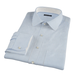 Blue University Stripe Broadcloth Custom Made Shirt