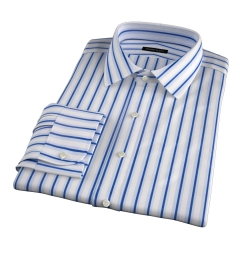 Canclini 120s Blue Multi Stripe Fitted Dress Shirt