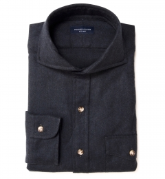 Canclini Charcoal Herringbone Flannel Fitted Dress Shirt