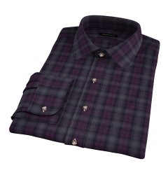 Canclini Plum and Grey Tonal Plaid Fitted Dress Shirt